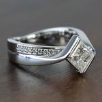 Bezel 1.90 Carat Princess Diamond Bridge Engagement Ring - small angle 3