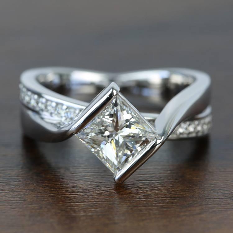 Bezel 1.90 Carat Princess Diamond Bridge Engagement Ring
