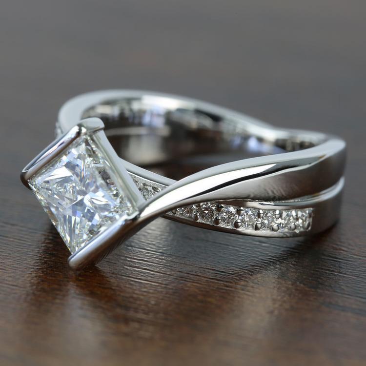 Bezel 1.90 Carat Princess Diamond Bridge Engagement Ring angle 2