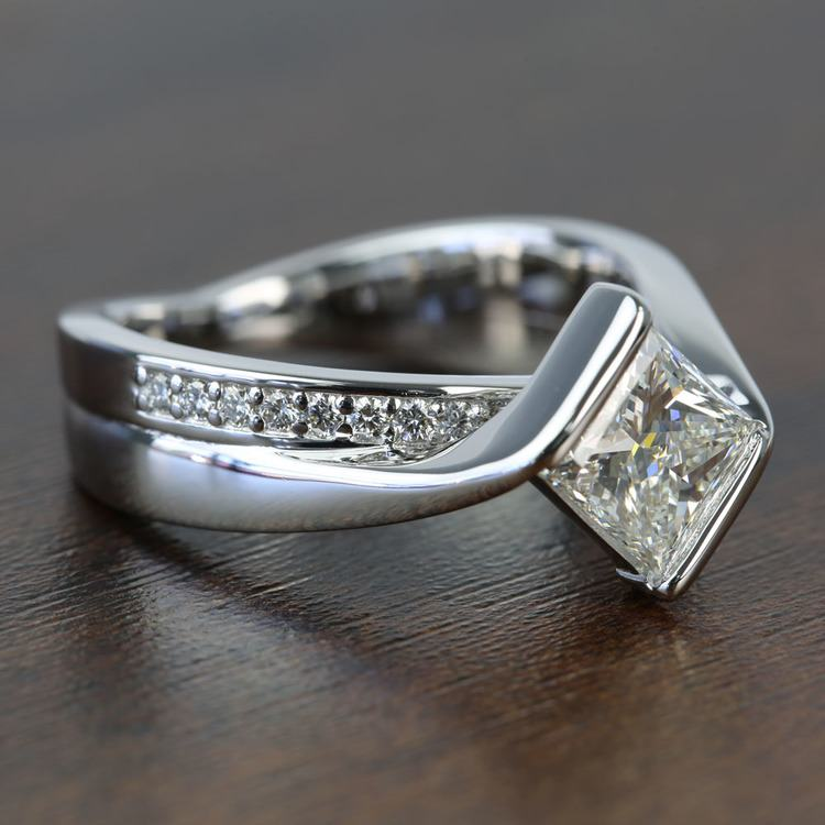 Bezel 1.90 Carat Princess Diamond Bridge Engagement Ring angle 3