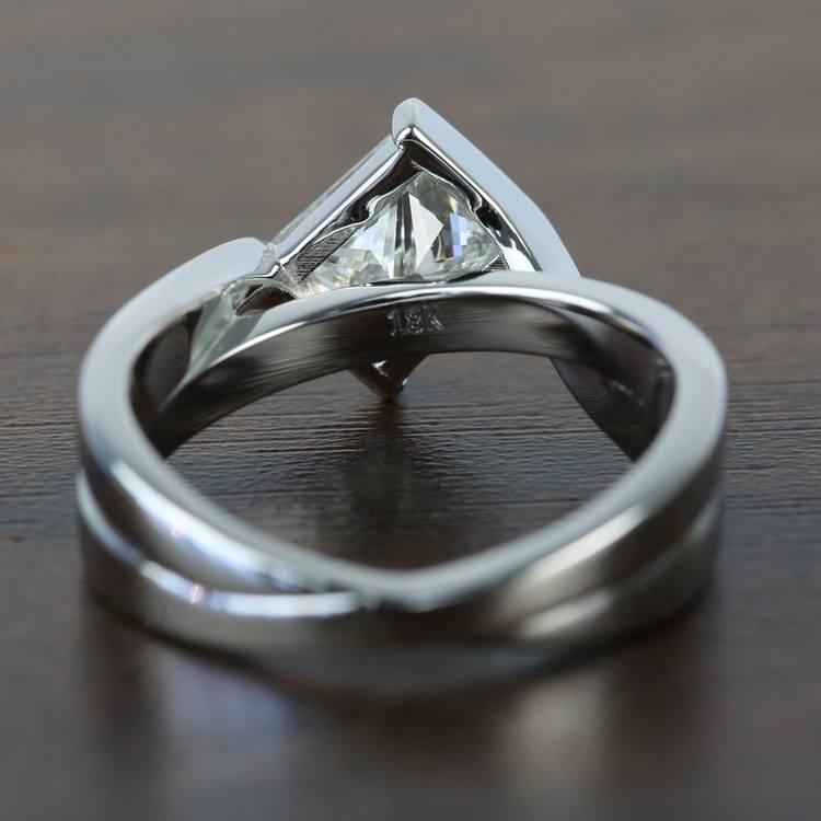 Bezel 1.90 Carat Princess Diamond Bridge Engagement Ring angle 4