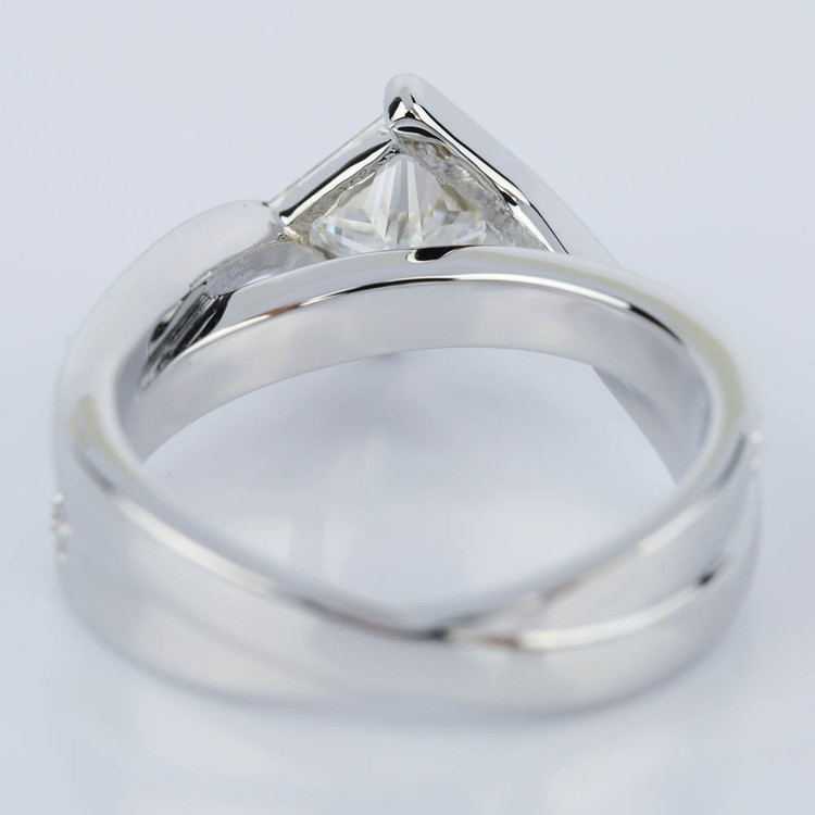 Bezel Bridge Princess Diamond Engagement Ring in White Gold (1.00 ct.) angle 4