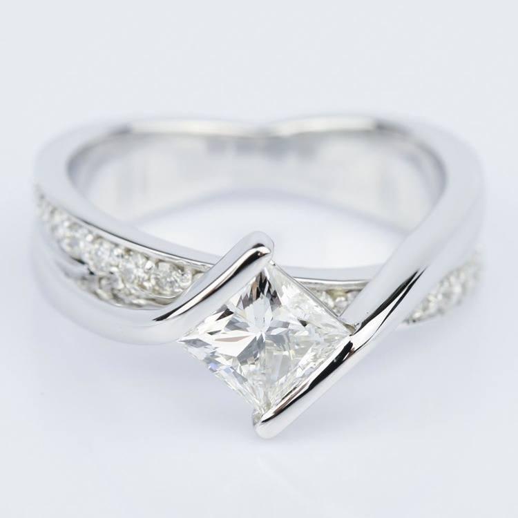 Bezel Bridge Princess Diamond Engagement Ring in White Gold (1.00 ct.)