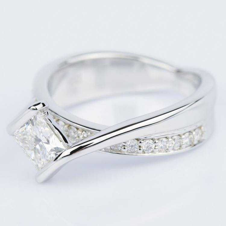 Bezel Bridge Princess Diamond Engagement Ring in White Gold (1.00 ct.) angle 2