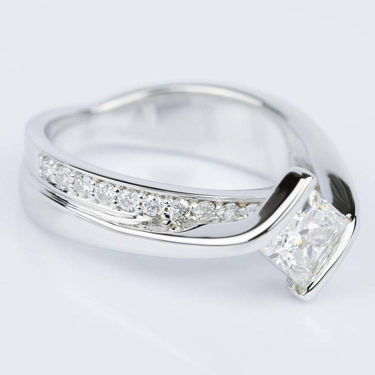 Bezel Bridge Princess Diamond Engagement Ring in White Gold (1.00 ct.) angle 3
