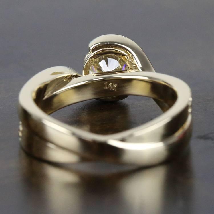 0.90 Carat Diamond Bezel Bridge Engagement Ring angle 4