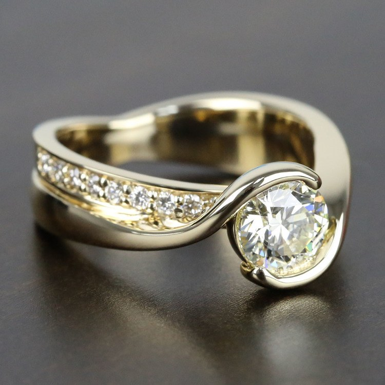 0.90 Carat Diamond Bezel Bridge Engagement Ring angle 3