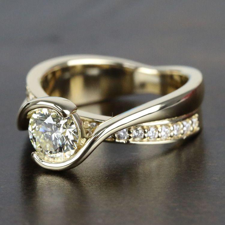 0.90 Carat Diamond Bezel Bridge Engagement Ring angle 2