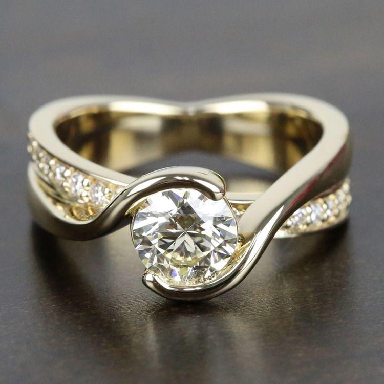 0.90 Carat Diamond Bezel Bridge Engagement Ring