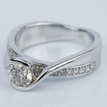 Bezel Diamond Bridge Engagement Ring in White Gold (0.80 ct.) - small angle 2