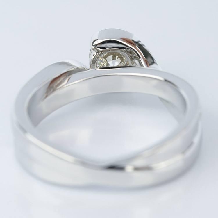 Bezel Diamond Bridge Engagement Ring in White Gold (0.80 ct.) angle 4