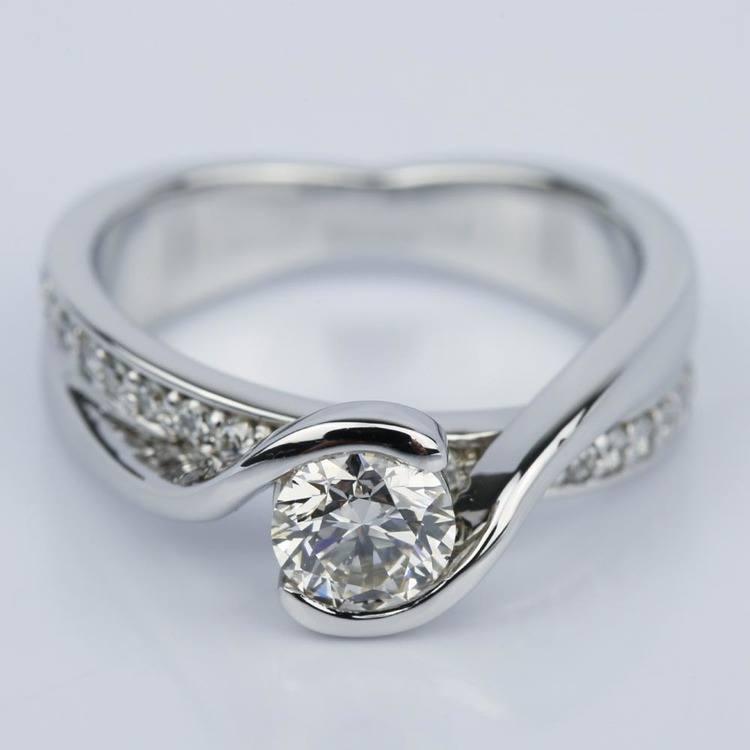 Bezel Diamond Bridge Engagement Ring in White Gold (0.80 ct.)
