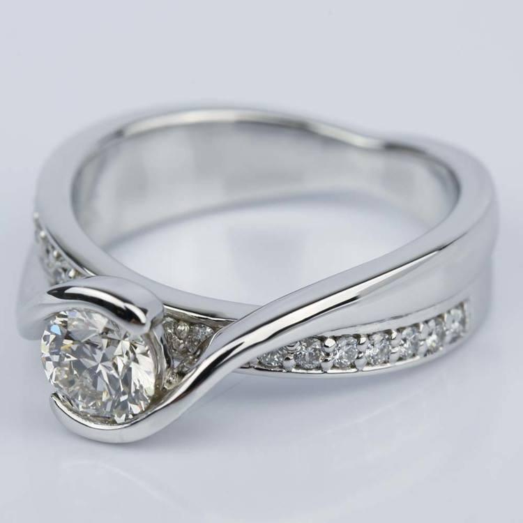 Bezel Diamond Bridge Engagement Ring in White Gold (0.80 ct.) angle 2