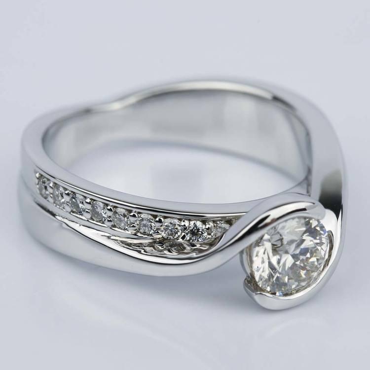 Bezel Diamond Bridge Engagement Ring in White Gold (0.80 ct.) angle 3
