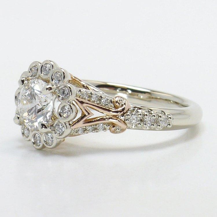 Bezel Halo Diamond Ring with Rose Gold Filigree angle 2