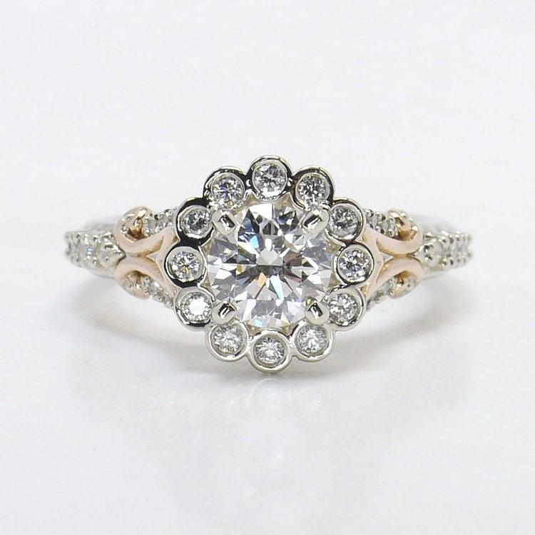 Bezel Halo Diamond Ring with Rose Gold Filigree