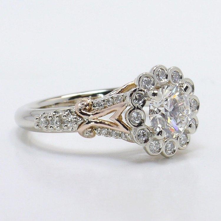 Bezel Halo Diamond Ring with Rose Gold Filigree angle 3