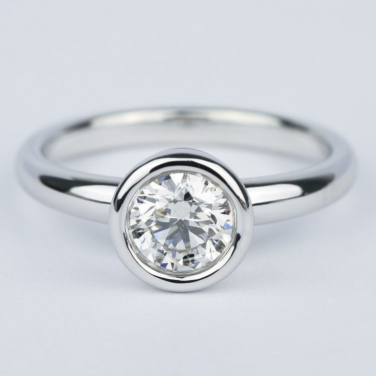 1 Carat Bezel Solitaire Engagement Ring In White Gold