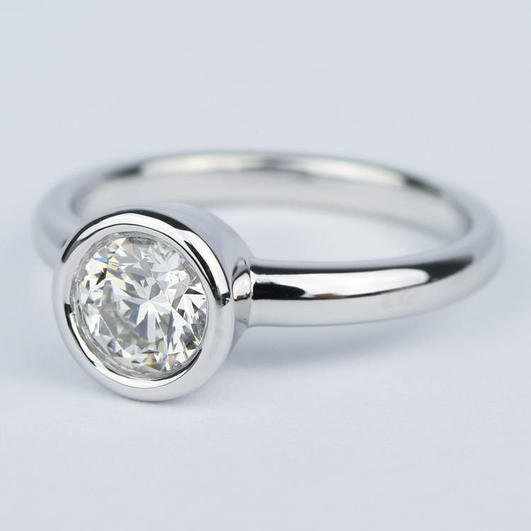1 Carat Bezel Solitaire Engagement Ring In White Gold angle 2