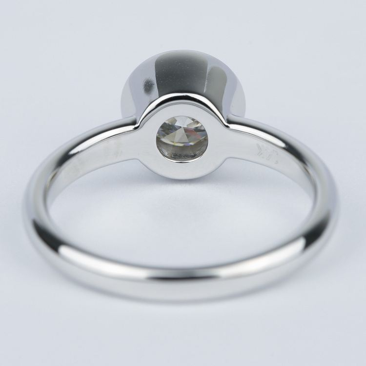1 Carat Bezel Solitaire Engagement Ring In White Gold angle 4