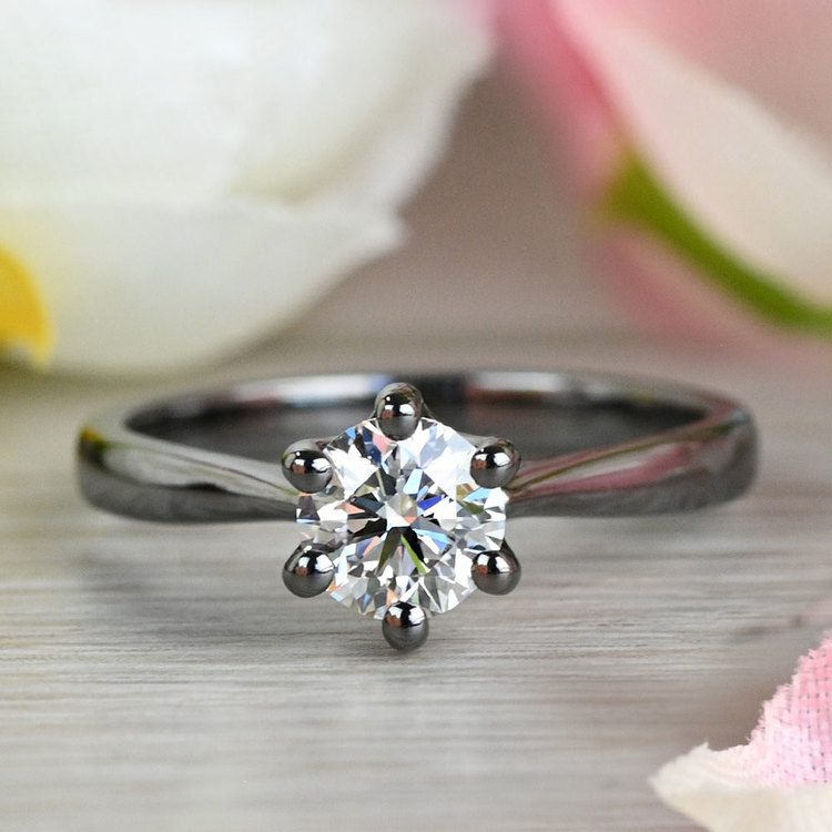 Black Gold Lotus Engagement Ring  angle 5