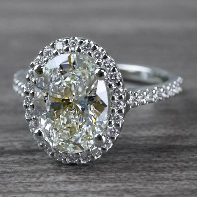 Blinding Oval Cut 3 Carat Diamond Ring angle 2