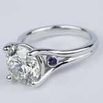 Blue Sapphire Accent Diamond Engagement Ring (3 Carat) - small angle 2