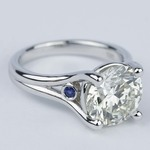 Blue Sapphire Accent Diamond Engagement Ring (3 Carat) - small angle 3
