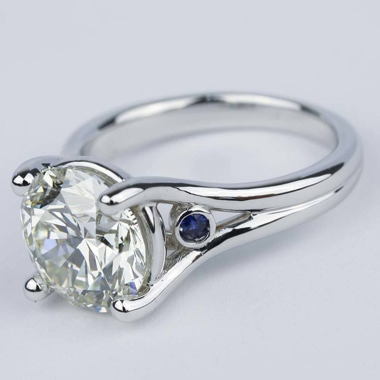 Blue Sapphire Accent Diamond Engagement Ring (3 Carat) angle 2