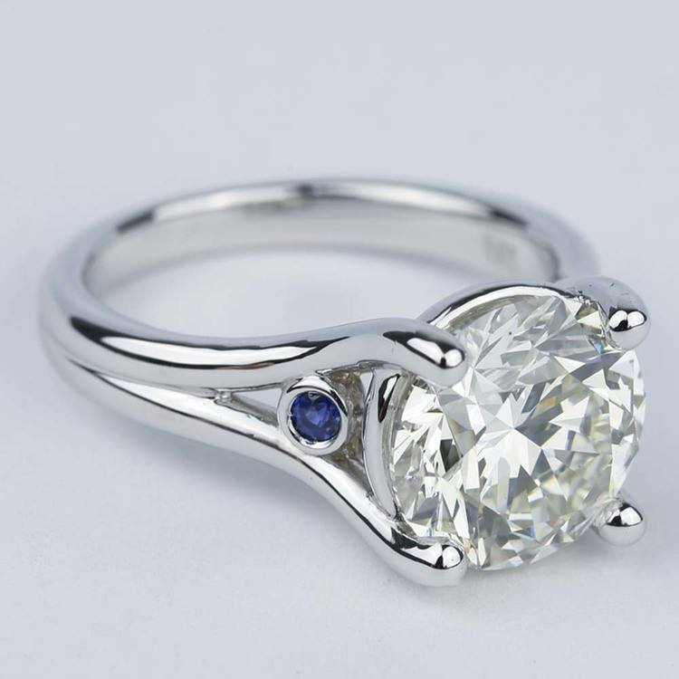 Blue Sapphire Accent Diamond Engagement Ring (3 Carat) angle 3