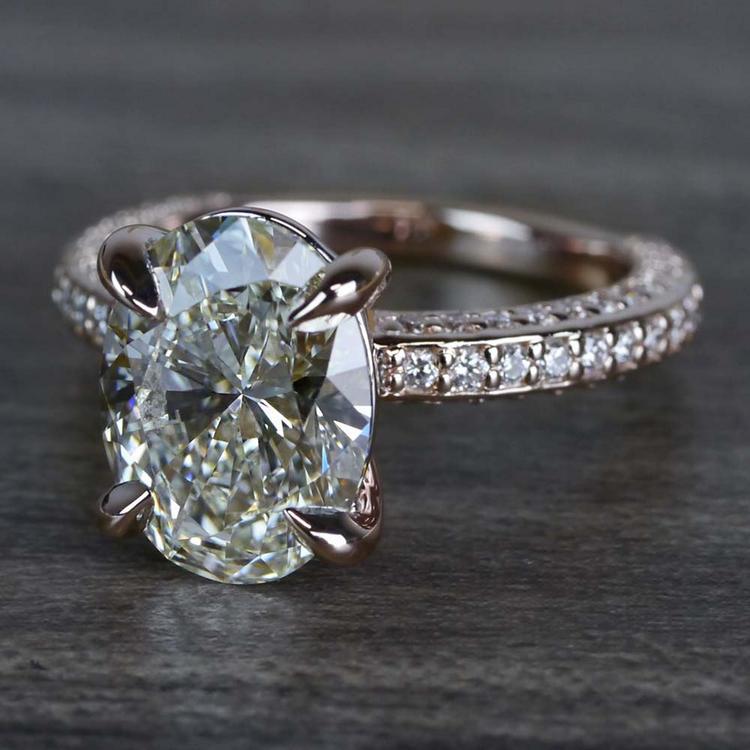 Breathtaking Oval Cut 3 Carat Diamond Ring angle 2