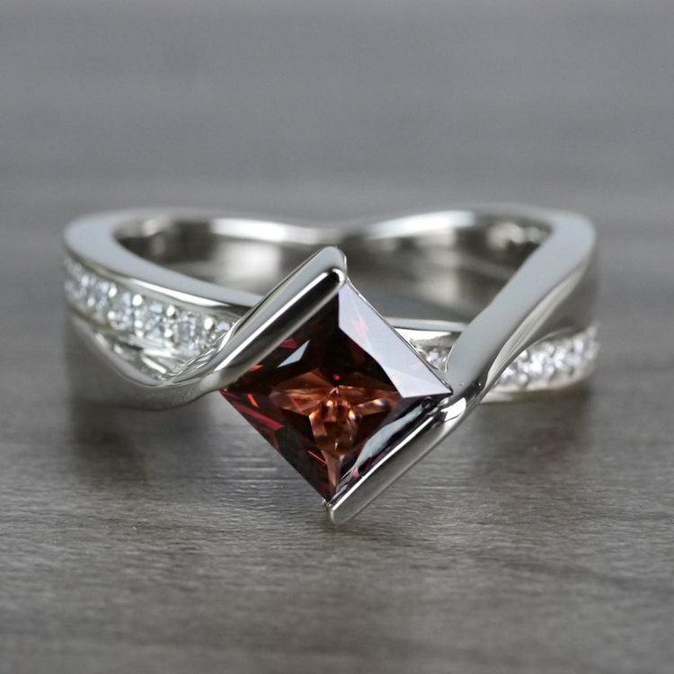 Bridged Princess Cut Bezel Setting Garnet Ring