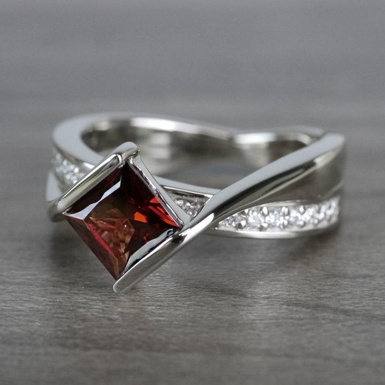 Bridged Princess Cut Bezel Setting Garnet Ring angle 2