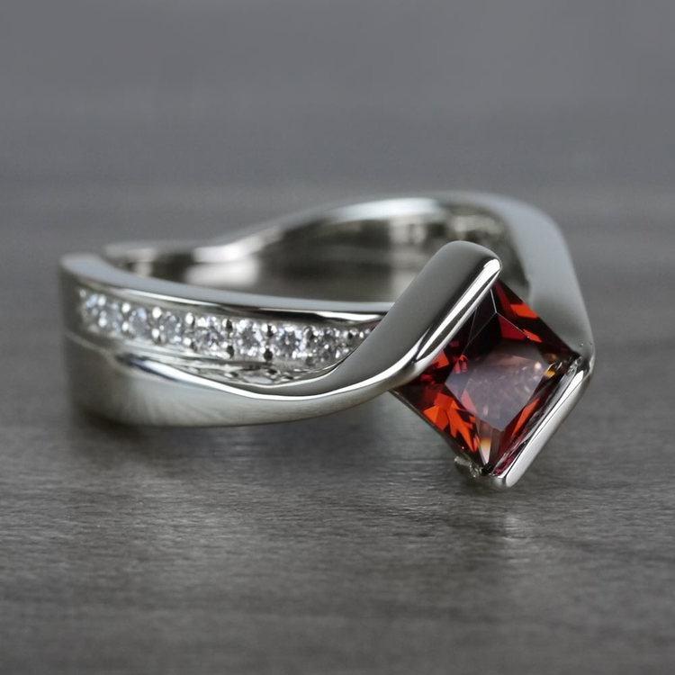 Bridged Princess Cut Bezel Setting Garnet Ring angle 3