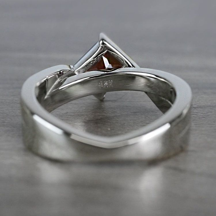 Bridged Princess Cut Bezel Setting Garnet Ring angle 4