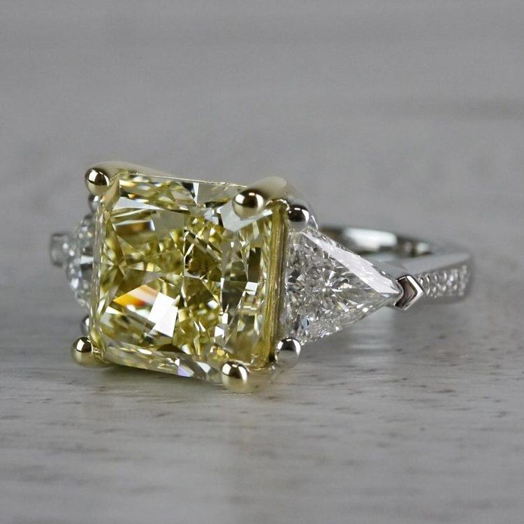 Bright Fancy Yellow 6 Carat Diamond Ring angle 2