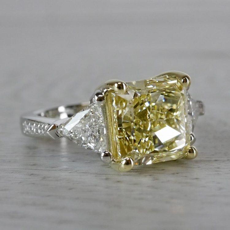 Bright Fancy Yellow 6 Carat Diamond Ring angle 3