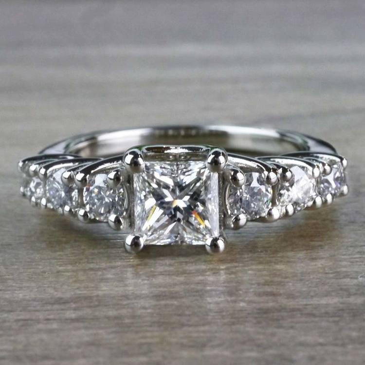 Exquisite Custom 7 Stone Diamond Trellis Engagement Ring