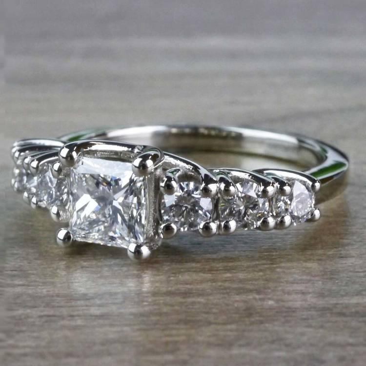 Exquisite Custom 7 Stone Diamond Trellis Engagement Ring  angle 2