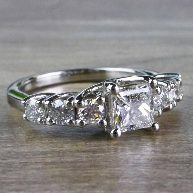 Exquisite Custom 7 Stone Diamond Trellis Engagement Ring  angle 3