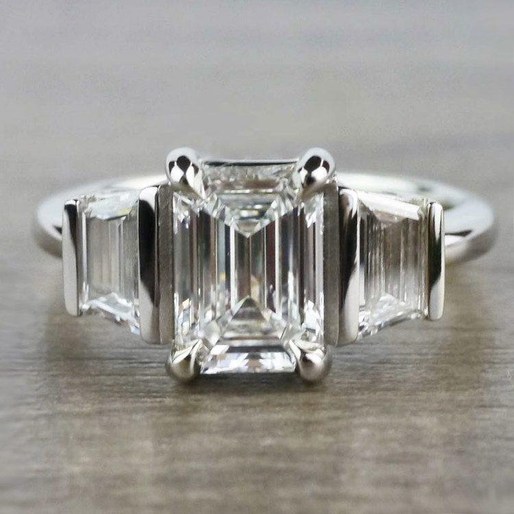 Three Stone Brilliant Emerald Cut Diamond Engagement Ring