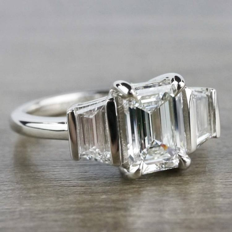 Three Stone Brilliant Emerald Cut Diamond Engagement Ring angle 3