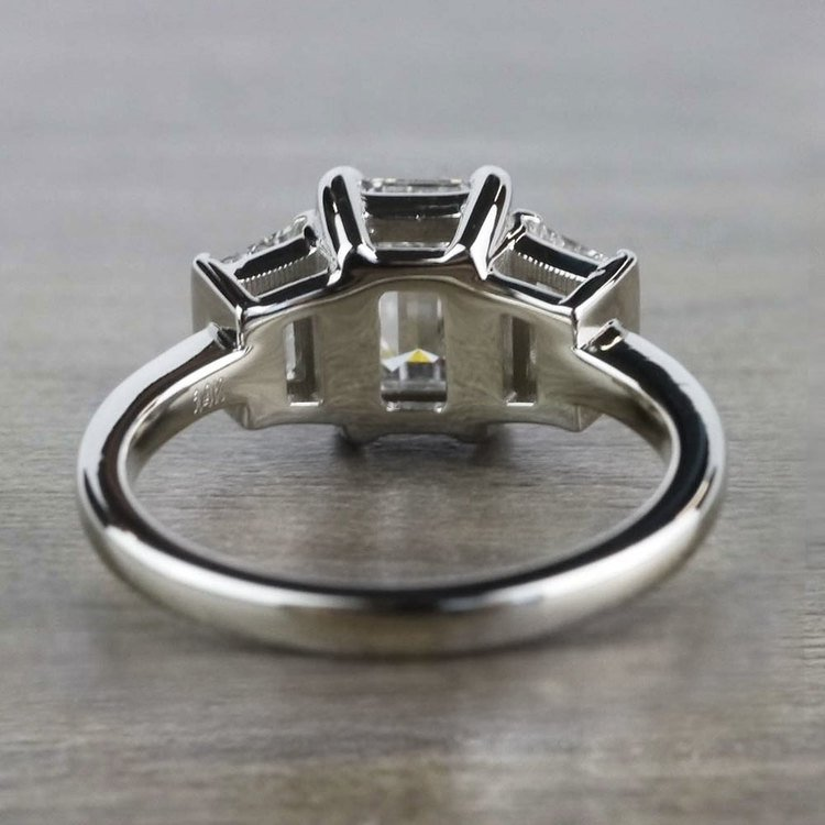 Three Stone Brilliant Emerald Cut Diamond Engagement Ring angle 4