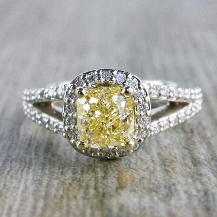 Brilliant Split Shank Yellow Cushion Engagement Ring