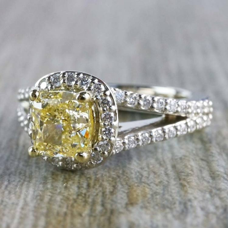 Brilliant Split Shank Yellow Cushion Engagement Ring angle 2