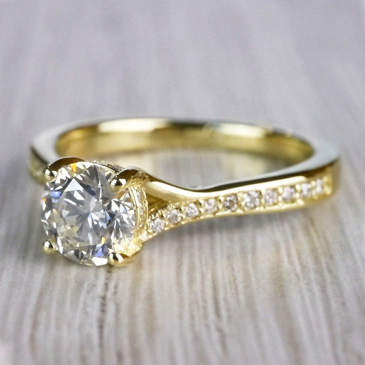 Brilliantly Bright Yellow Gold Split Shank Engagement Ring  angle 2