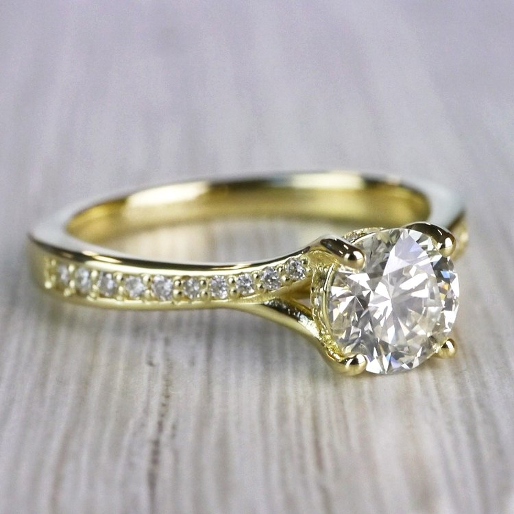 Brilliantly Bright Yellow Gold Split Shank Engagement Ring  angle 3
