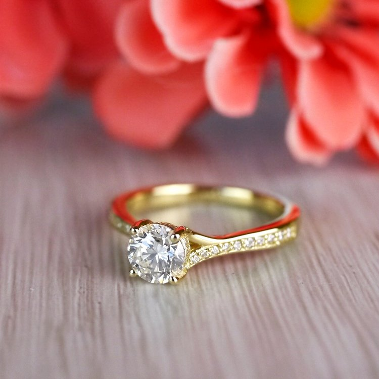 Brilliantly Bright Yellow Gold Split Shank Engagement Ring  angle 5