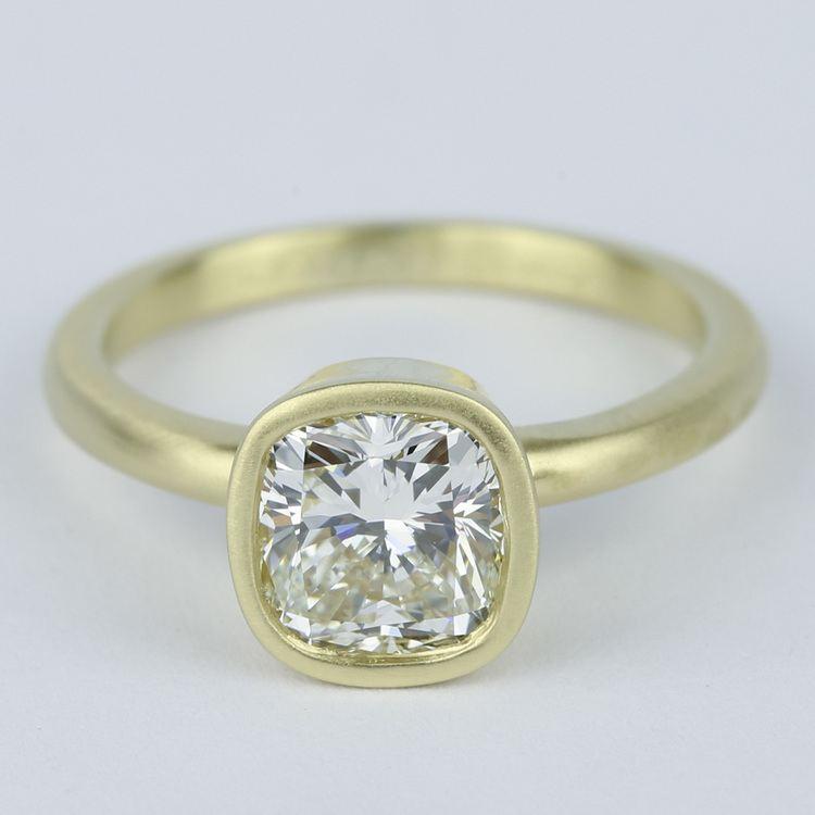 Bezel-Set Cushion Diamond Ring with Satin Finish