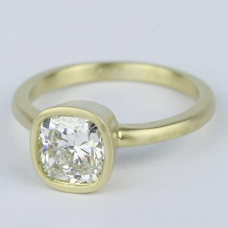 Bezel-Set Cushion Diamond Ring with Satin Finish angle 2